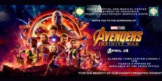 You know you want it! Avengers Blocked Screening on Saturday April 28,2018 7pm at Cinema 1 ATC. Comes with free taters flavored popcorn and iced tea!!!!