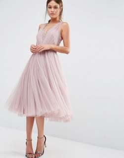 🎈Bridesmaid Collection - ASOS Mink Embellished Beaded Midi Tea Length Tulle Dress with Eyelash Lace Back