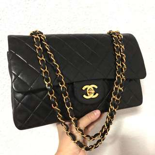 Authentic Chanel 10 Inch Classic Flap Bag with 24k Gold Hardware