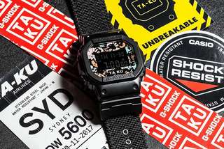 G SHOCK X TA-KU COLLABORATION DW5600 WITH LIMITED FLIGHT CASE BLACK/MULTI-COLOURED