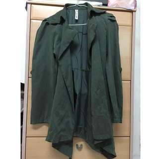 軍綠色薄長褸Dark Green Slim Trench Coat [少許暇疵如圖]
