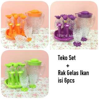 Teko Set + Rak Gelas Set Ikan