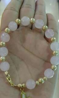 10k gold w/rose quartz stone