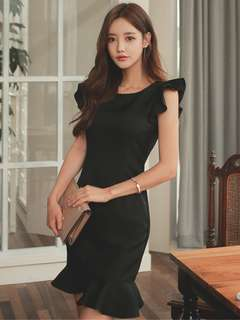 Formal: Black Summer Round Neck Flouncing Shoulder Fishtail Dress (S / M / L / XL) - OA/XKE041811