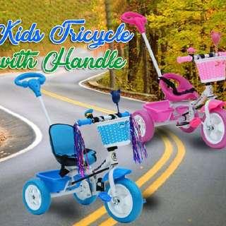Kids tricycle with handle  Rm88 Inc pos semenanjung  Pm Wasap 0176725125   DETAILS Suitable age: 1-3 years, 3-6 years Material: Plastic Tyre Material: ImportedPu Wheels