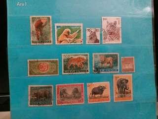 1951/87 India Stamps Animals, 12 pcs