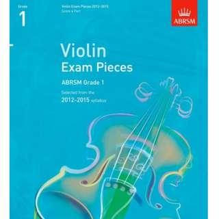 ABRSM Violin Exam Pieces 2012-2015 Grade 1 Score and Part