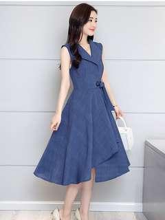 Casual: Blue Tie Waist Flouncing Linen Dress (L / XL / 2XL / 3XL) - OA/XKE041712