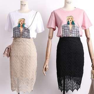 [B275] Crochet Lace Highwaist Midi Skirt