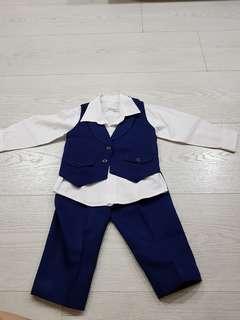 3 Piece Page Boy Formal Suit(dark blue)
