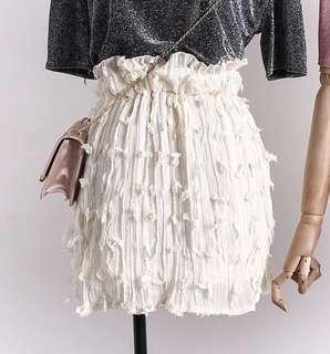 PO - Tassel Elastic Waist Fringed Sweet Mini-skirt (3 colors)