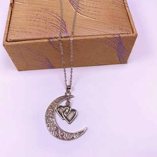 Heart and crescent moon necklace