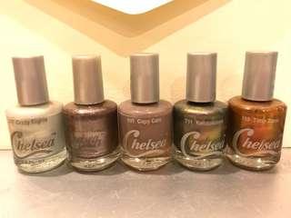 *NEW* 1 lot isi 6 nail polish kutek macam2 warna metallic & creme