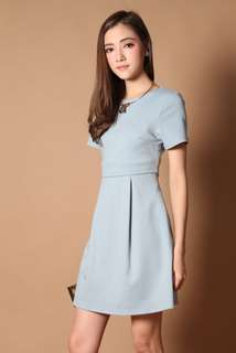 The Stage Walk Jolin Tiered Work Dress in Baby Blue