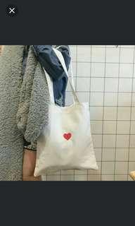 Canvas heart harajuku tote bag