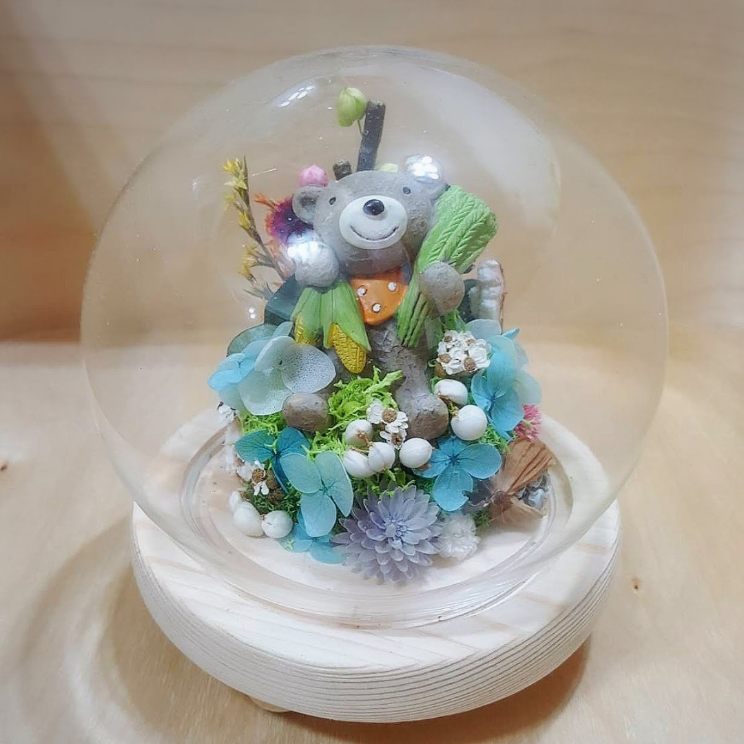 乾燥花 公仔 熊 玻璃盅 居家裝飾  禮物