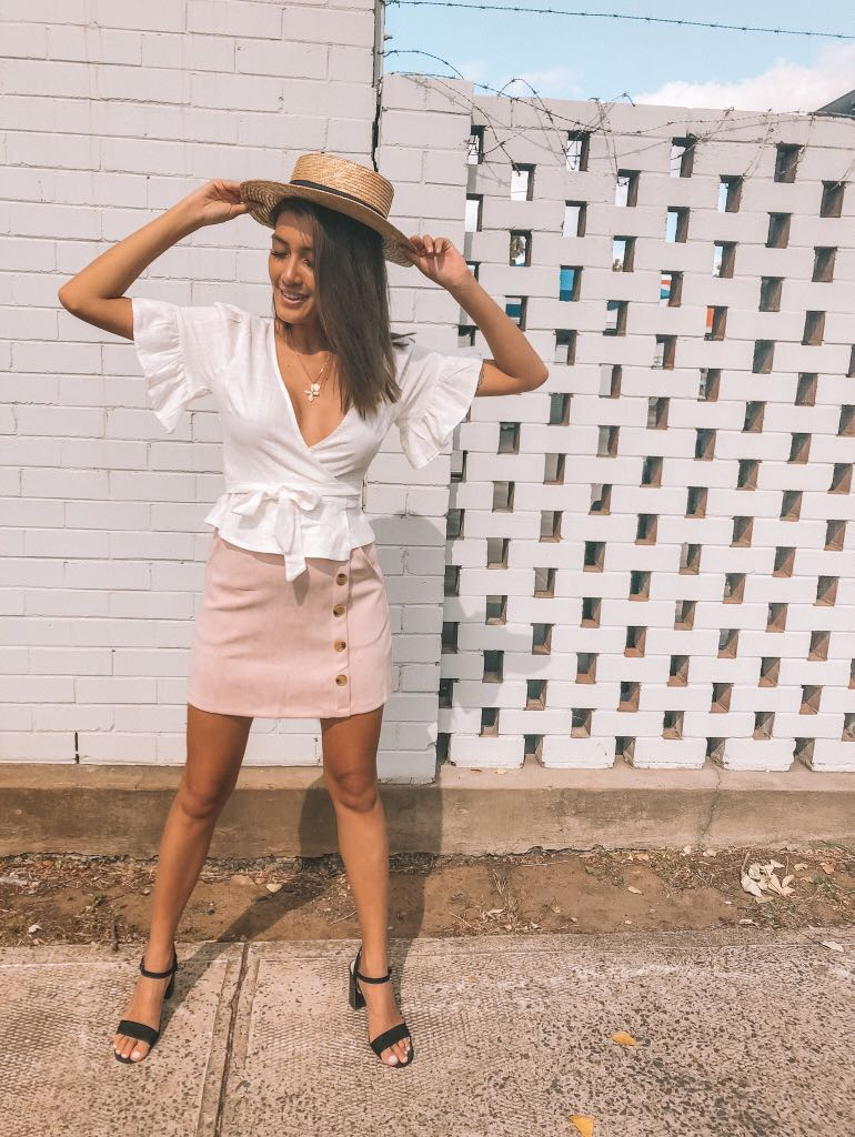 // dollygirl fashion - NEW pink suede skirt