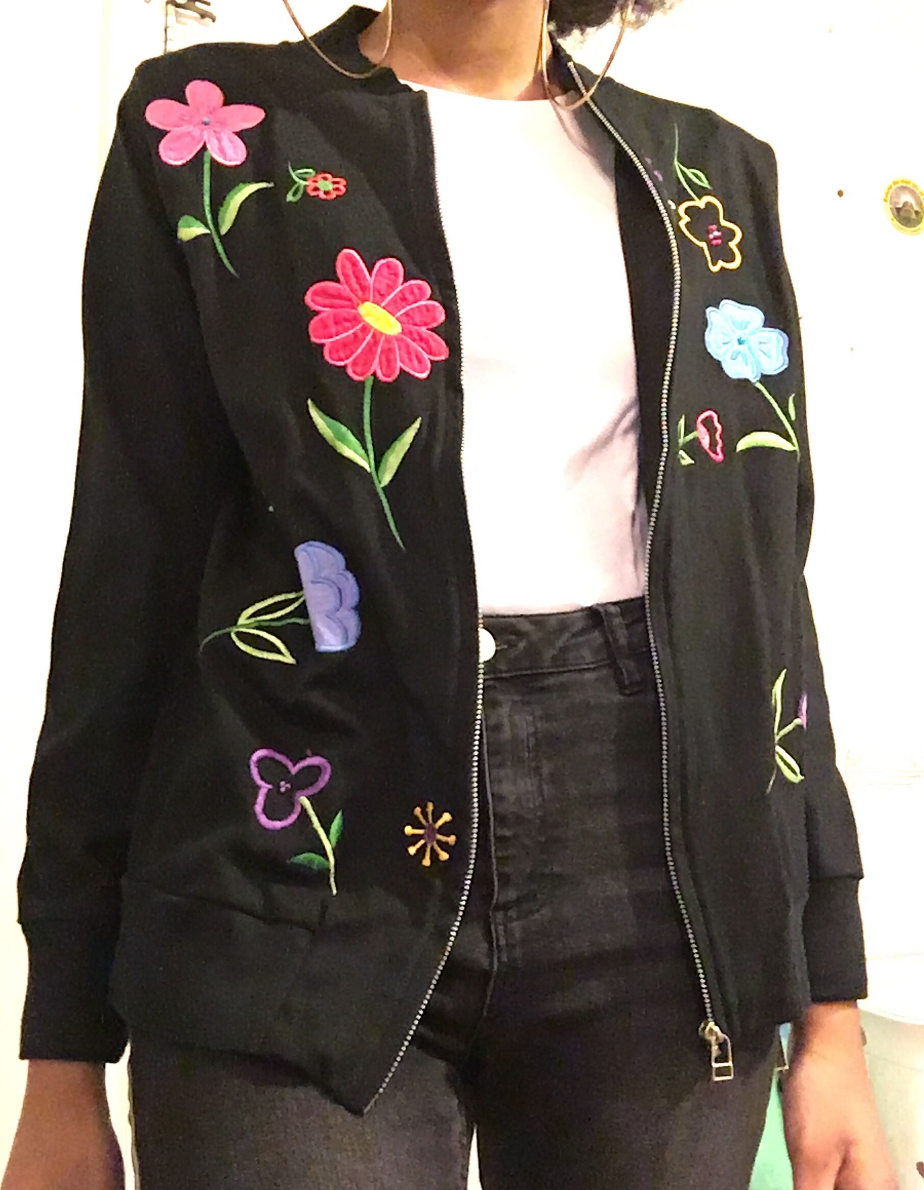 Black Jacket w/ Flower Patches
