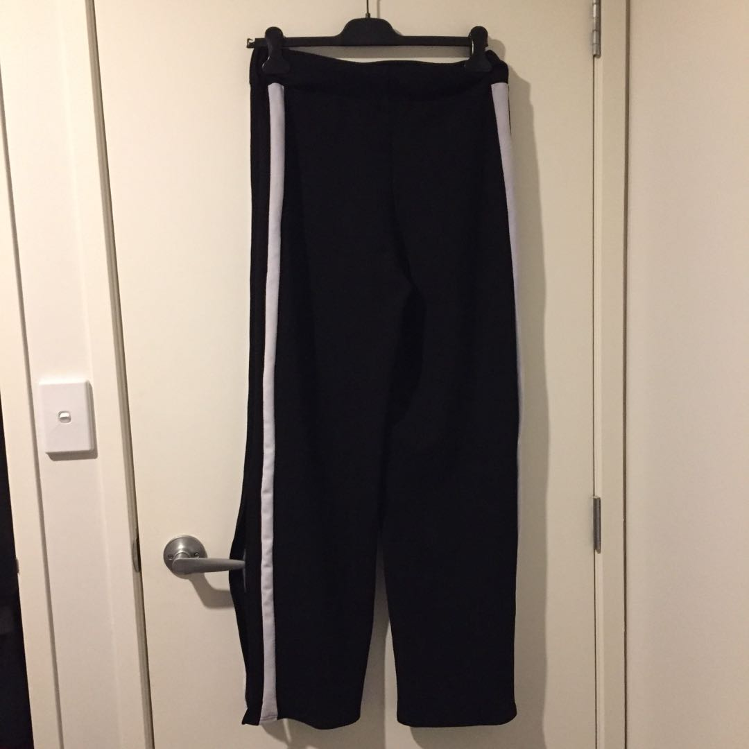 BLACK STRIPED RACER PANTS