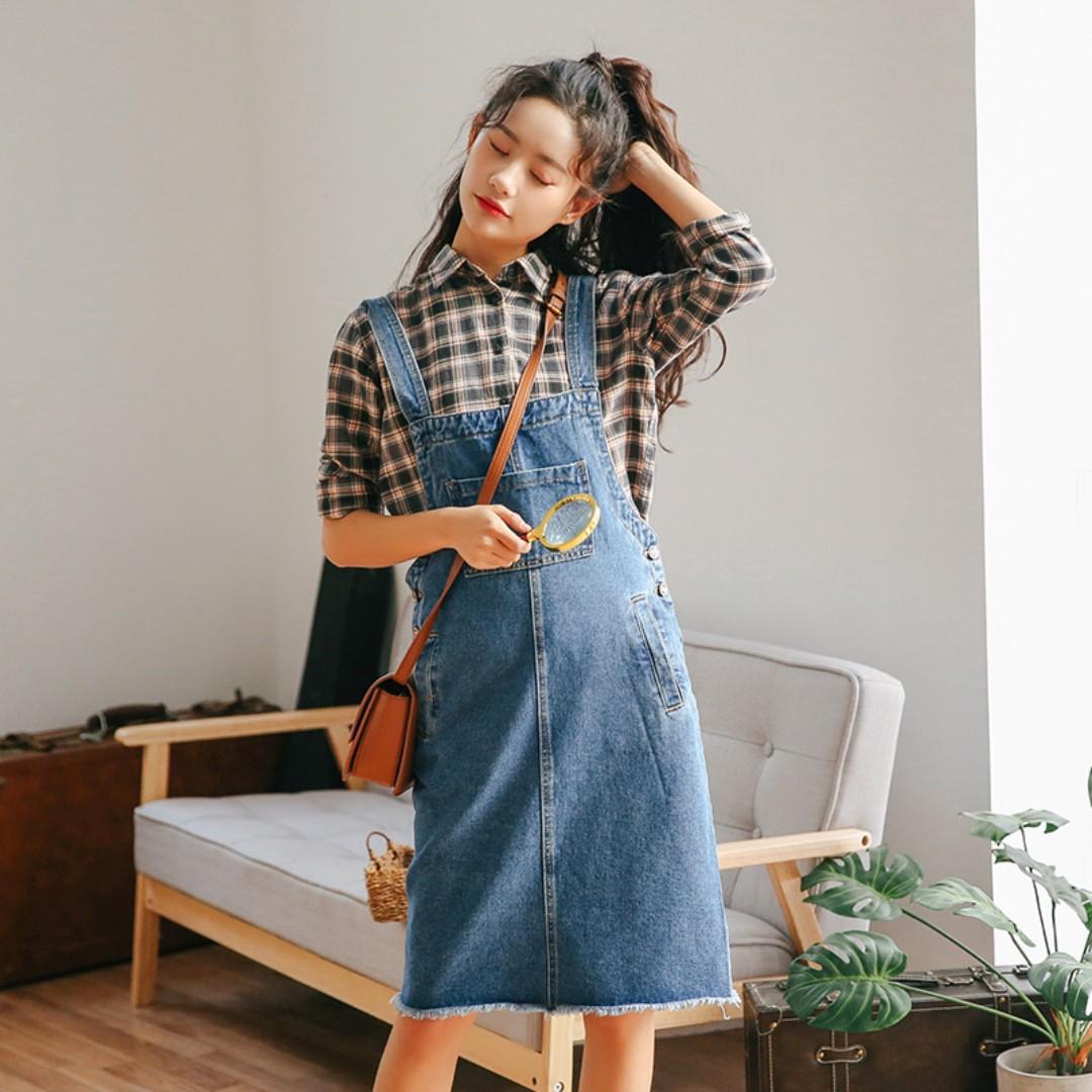 2f54490e303 Denim Blue Coloured Bib Designed Korean Style Overall Dress