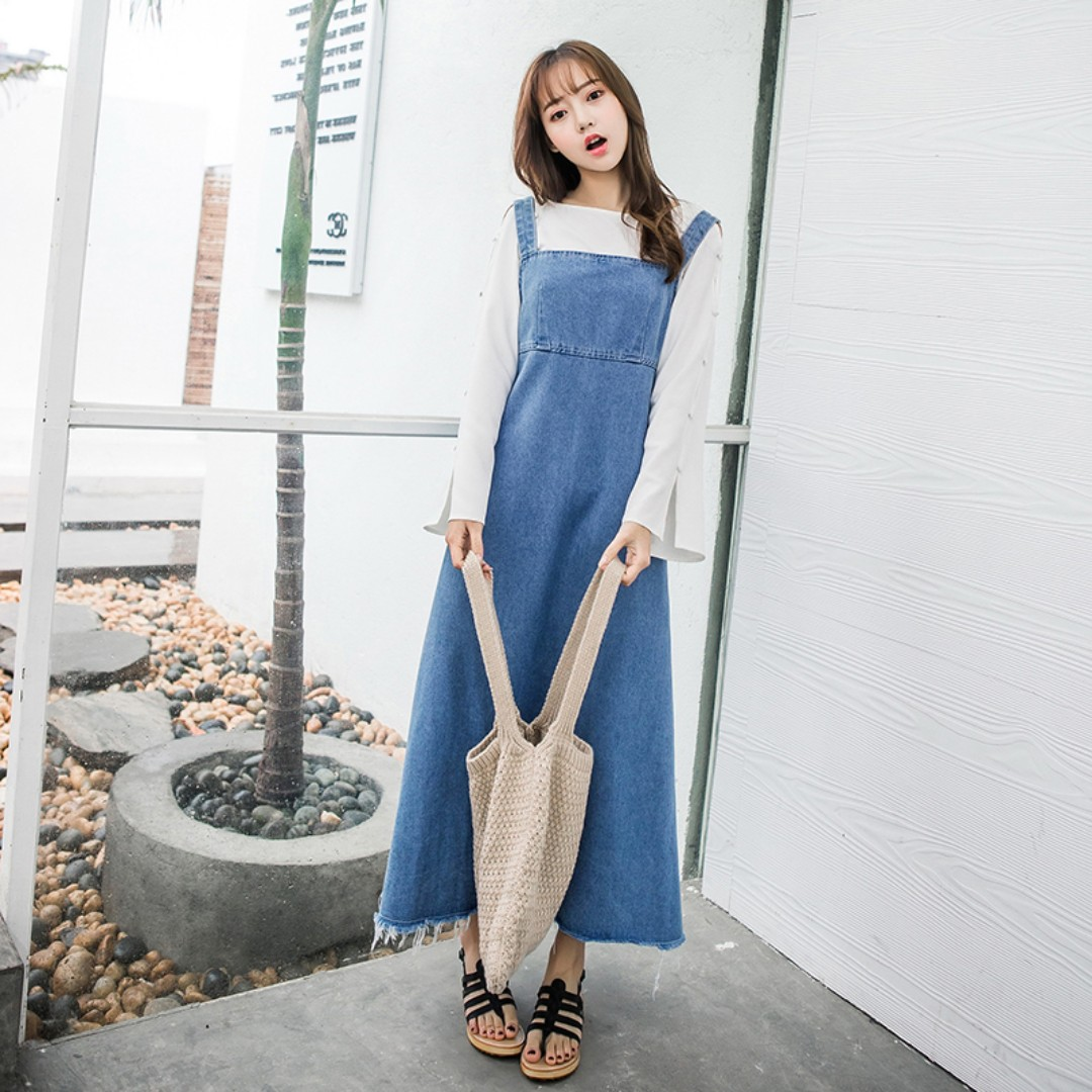 1f940be44 Denim Blue Coloured Square Neck Korean Style Overall Maxi Dress, Women's  Fashion, Clothes, Dresses & Skirts on Carousell