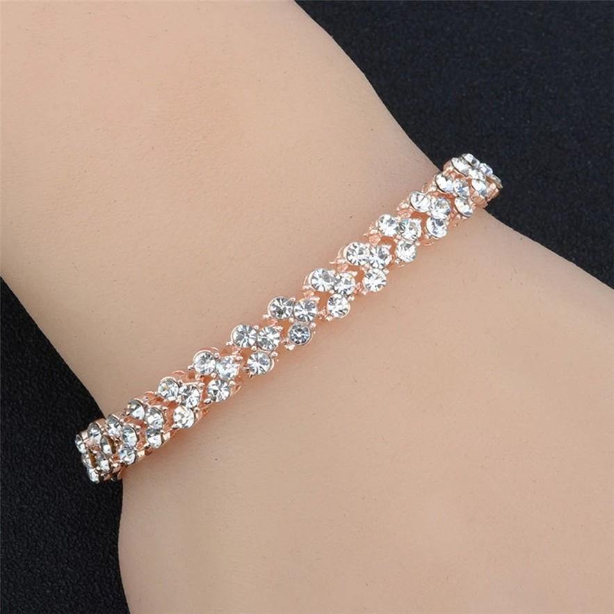 Diomedes Crystal Bracelets Women Gold Silver Plated Link Bracelet