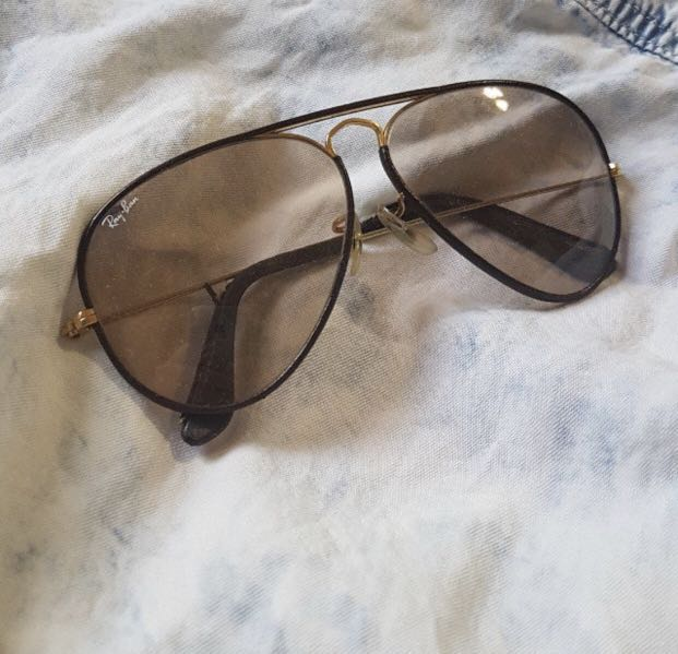 Ray ban unisex leather trimmed sunglasses