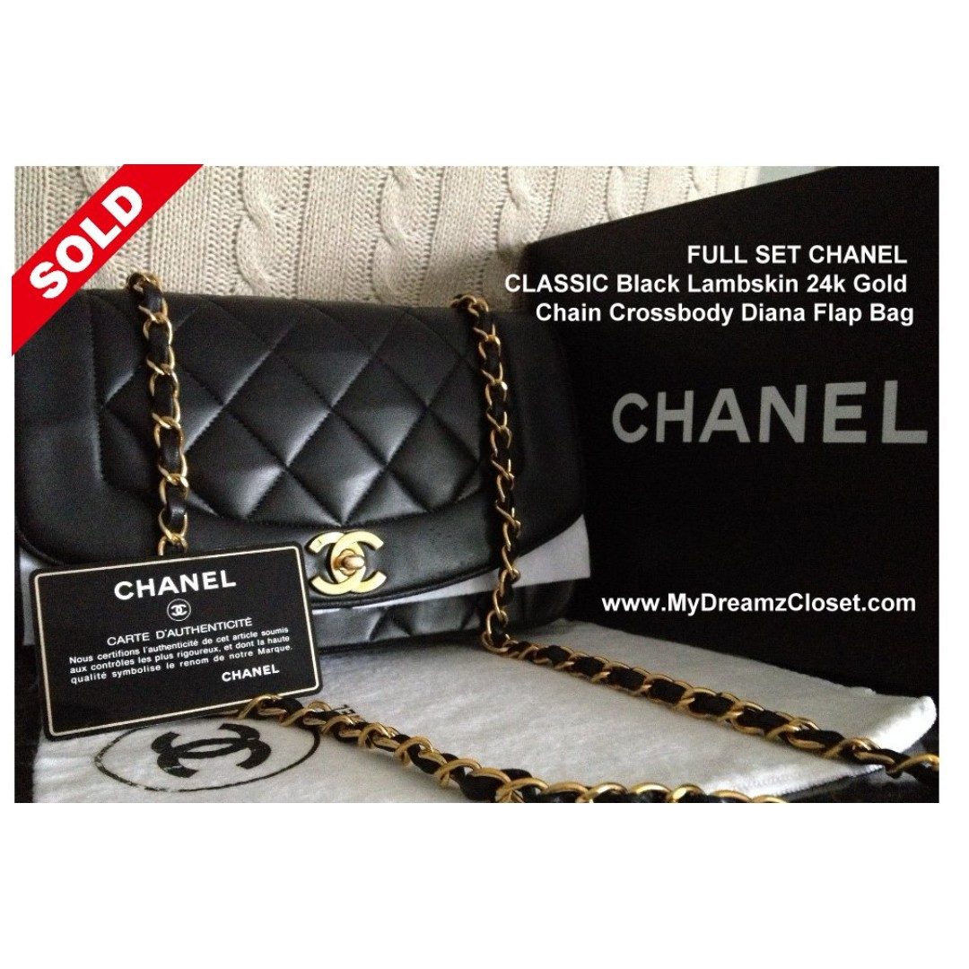 9c92abfe7877 SOLD - FULL SET CHANEL CLASSIC Black Lambskin 24k Gold Chain ...