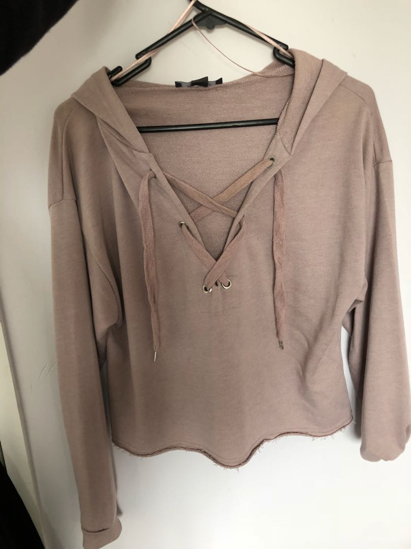Tie front cropped hoodie