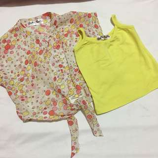 Girls tie top blouse with inner
