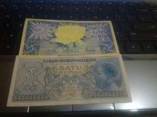 Uang kuno jadul lama 1 rupiah & 5 rupiah