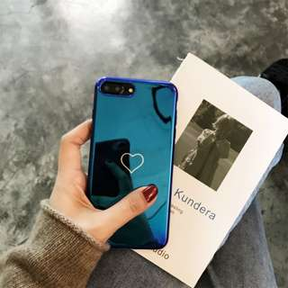 iPhone X blue purple case 藍光心型手機殻