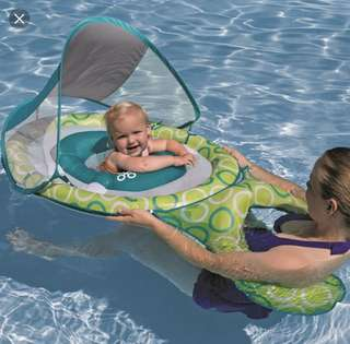 Swimways Green/Blue Mommy and Me Baby Spring Float with Canopy - Phase 1