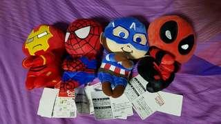 Marvel Plush Toys set (iron man, Spiderman, cpt America, deadpool)