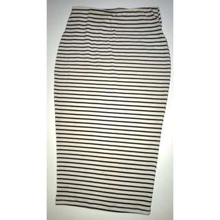 Black/White Stripe Midi Skirt - XS