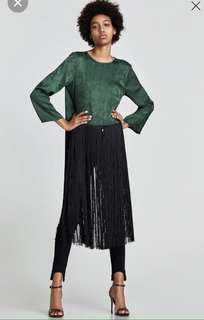 Zara long green top with fringe