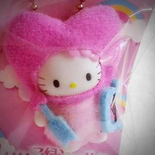 Hello Kitty 日本限定 祈願 愛情運 戀愛運 增強愛情運 粉紅色 匙扣 公仔吊飾 心型頭 愛神公仔 小天使 614495