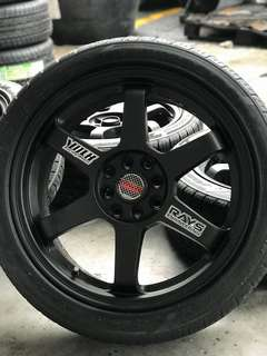 Te37 17 inch sports rim satria neo tyre 70% *below market price*