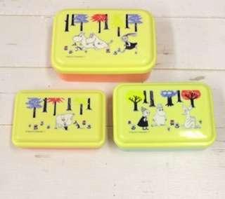 日本直送-日本姆明餐盒一套三個 ムーミン シール容器3Pセット ムーミンフォレスト