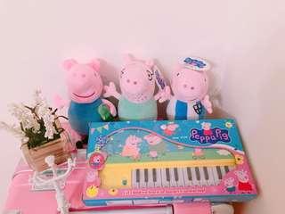 佩佩豬系列娃娃3隻 加 佩佩豬鋼琴🎹 全部帶走只要330