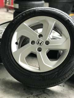 Honda city 15 inch sports rim tyre 98%. *kuat kuat offer*