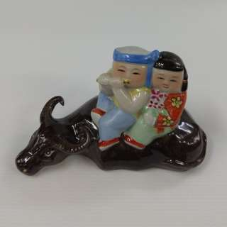 Vintage Chinese Sculpture Porcelain Boy And Girl Figurine Sitting On Buffalo Play Flute