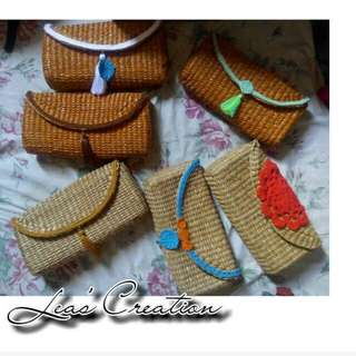 Rattan style  sling bags/clutch