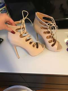 Nude Lace up High Heels