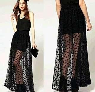 歐美時尚休閒渡假日韓系復古簡約俏皮可愛百搭款點點造型網紗半身裙長裙