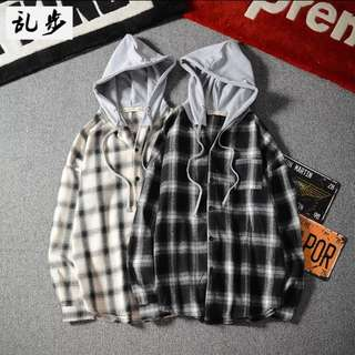 Checkered Hoodie Tee Long Sleeve Swag Style Two Piece Shirt
