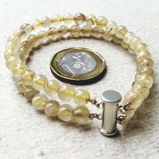 18cm Golden Rutilated Quartz 100% Natural Double Row Bracelet with Magnetic Clasp Bail