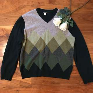 Green grunge gradient argyle wool sweater from express