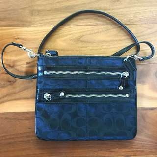 Brand new Coach black satin crossbody bag