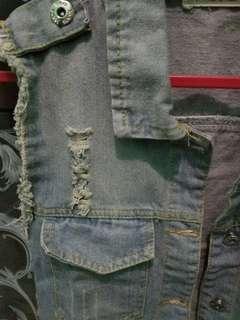 Rompi jaket ripped jeans